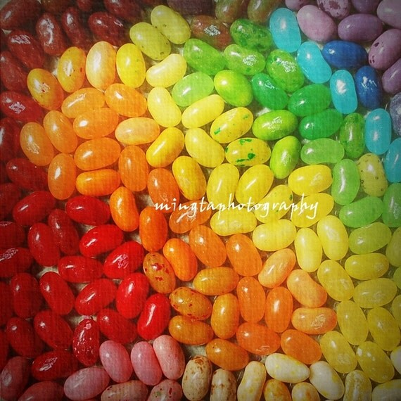 Rainbow Of Jelly Beans - Sweety Red Orange Yellow Green Blue Purple Sweety Easter gift for jelly beans lovers jelly belly Fine Art Print 8x8