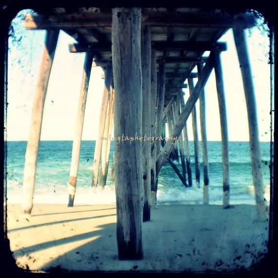 TTV - Always Up and Down - Pier Wave ocean is calling hot fun in the summer time up and down for her him love beach obx Fine Art Print 8x8