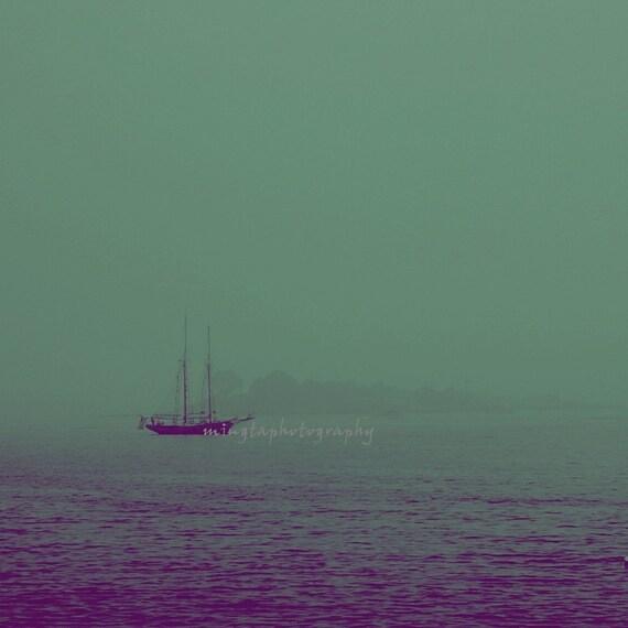 Misty - Teal of Ocean Misty ocean Romantic decoration Ocean is calling Traveling Beach bum color photography wall art deco