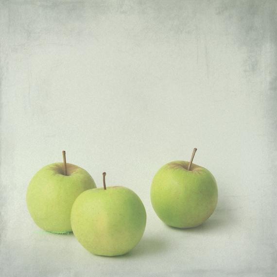 Autumn green 2 - Green apple, nursery art decor, still life, crisp, ripe green apples, harvest kitchen fall wall decor color photography