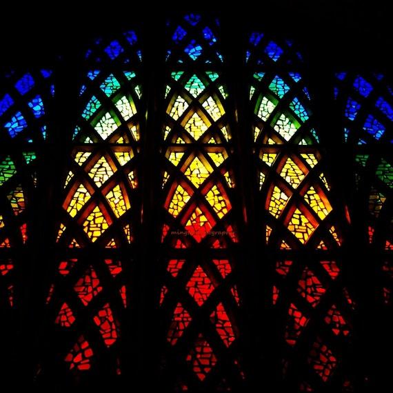 Colors of my World - Rainbow colors xmas gift idea peace nursery decor church stained glass rainbow abstract decal Fine Art Print 8x8