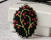 Pendant - Hand Embroidered - Red Buds on Vines
