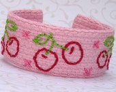 Wrist Cuff - Hand Embroidered - Cherries