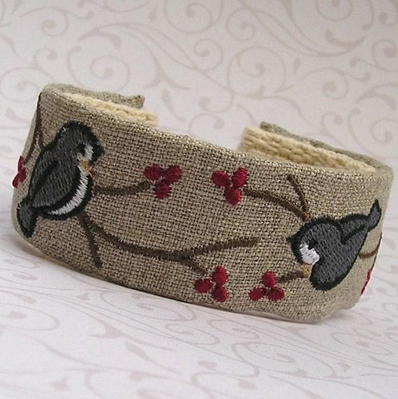 Wrist Cuff - Machine Embroidered - Pair of Chickadees on Linen