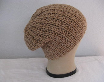 Slouchy Beanie in Latte. Merino Wool and Silk. Luxe Hand Knit Hat. Fall and Winter Accessories.