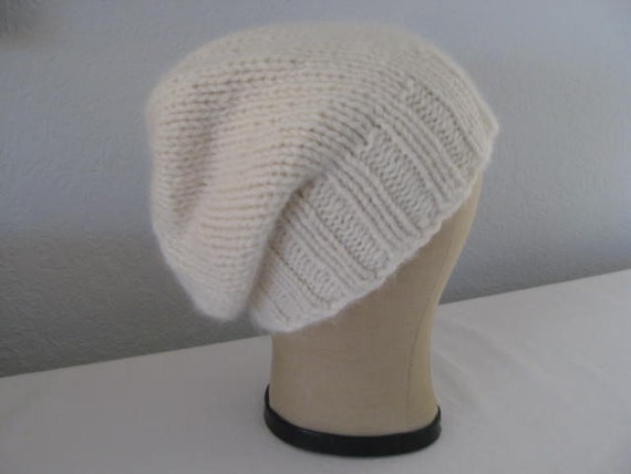 Hand Knit Hat for Women or Men. Slouchy Beanie. Angora and Wool in Winter White. Size Medium to Large..