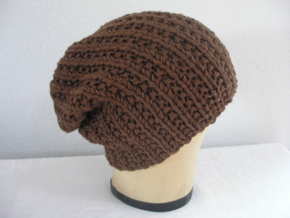 Hand Knit Hat in Brown. Chunky, Merino Wool, Slouchy Beanie. Men or Women. Size Large.