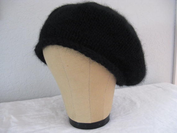 Black Beret for Men or Women. Hand Knit  Hat in Angora, Merino Wool, and Cashmere.