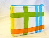 Ribbon Plaid Zipper Pouch Cosmetic Makeup Bag Turquoise Orange Lime Yellow White Summer Handmade