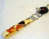 Wristlet Key Fob Joel Dewberry Orchids Fabric Ivory Rust Brown Floral Keyring Keychain Fob Handmade MTO