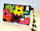 Wristlet Clutch Purse Bright Floral Cosmetic Bag Makeup Bag Key Fob JUICY BLOOMS Luella Doss Hot Flash Fabric Handmade