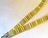 Amy Butler Fabric LANYARD Badge Holder Breakaway Lanyard Designer Fabric ID Clip Key Ring Fob Oxford Stripe Sage Yellow Orange Handmade