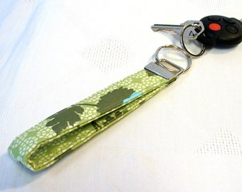 CLEARANCE SALE Wristlet Key Fob Keychain Keyring Joel Dewberry Fabric Tossed Flowers Floral Celery Green Aqua Blue