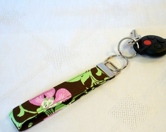 CLEARANCE SALE Wristlet Key Fob Amy Butler Fabric Keyring Keychain Sweet Jasmine Rose Pink Brown Handmade