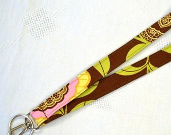 Amy Butler Fabric LANYARD Badge Holder Breakaway Lanyard Designer Fabric ID Clip Key Ring Fob Lacework Brown Handmade MTO