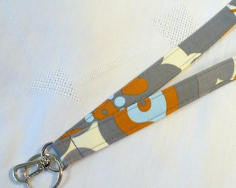 Amy Butler Fabric LANYARD Badge Holder Breakaway Lanyard Designer Fabric ID Clip Key Ring Fob Morning Glory Rust Blue Gray Handmade MTO