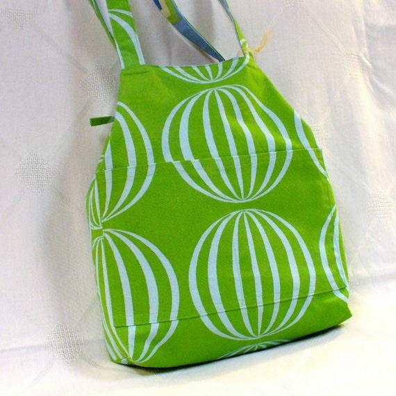 Reversible French Market Bag Tote Bag Geometric Orbs Green Blue Purse Fabric Handbag Handmade