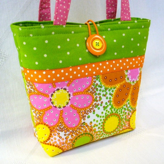 Little Girls Purse DAISY Dots Citrus Yellow Orange Lime Floral Mini Tote Bag Small Childs Bag Kids Purse Handmade