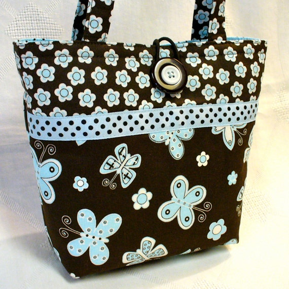 Childs Purse Little Girls Purse BUTTERFLIES Butterfly Baby Blue Brown Mini Tote Bag Kids Bag Handmade