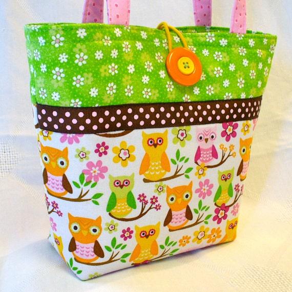 Retro OWLS Little Purse Mini Tote Bag Small Handbag Pink Lime Green Orange Yellow Handmade