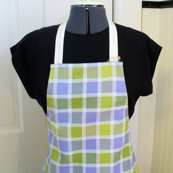 Full Chefs Apron SIZED PETITE Womens Apron Check Plaid Lime Purpel Small Size Full Apron