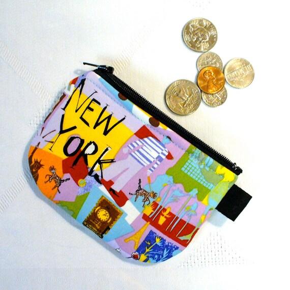 NEW YORK Mini Coin Pouch Little Zipper Change Purse Handmade Fabric Wallet Manhattan