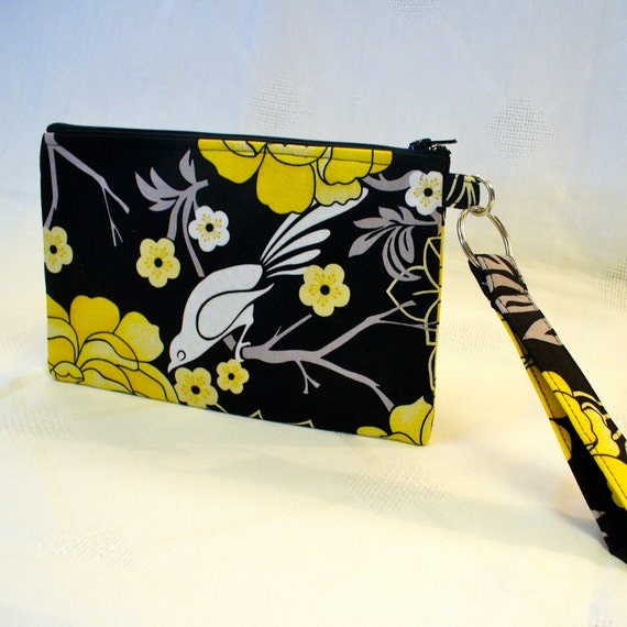Bird on Branch Wristlet Clutch Purse Zipper Pouch Cosmetic Bag Key Fob Peony Garden Black White Yellow Gray Handmade