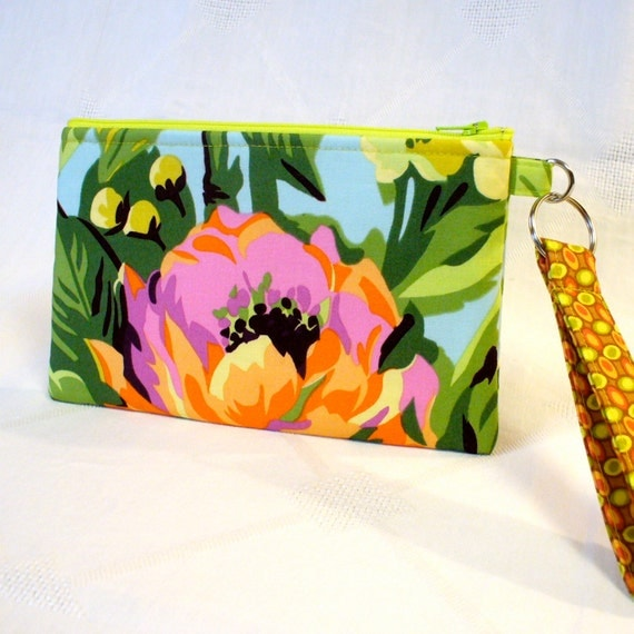 Rare Amy Butler Fabric Wristlet Clutch Purse Temple Flowers Peony Orange Purple Aqua Zipper Pouch Cosmetic Bag Key Ring Fob Handmade
