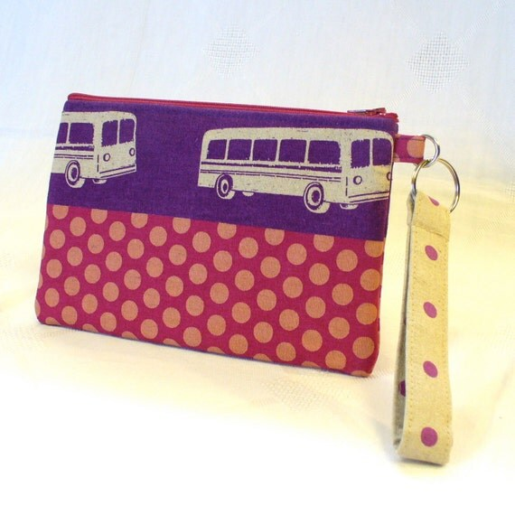Wristlet Clutch Purse Echino Fabric BUS Zipper Pouch Cosmetic Bag Pencil Case Key Ring Fob Purple Hot Pink Handmade