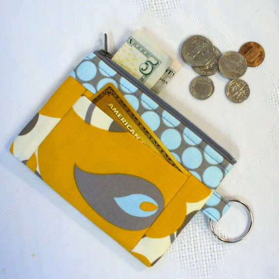 Zipper Coin Purse Amy Butler Fabric Morning Glory Gold Card Slot Key Ring Fob Lotus Yellow Gray Blue Fabric Wallet