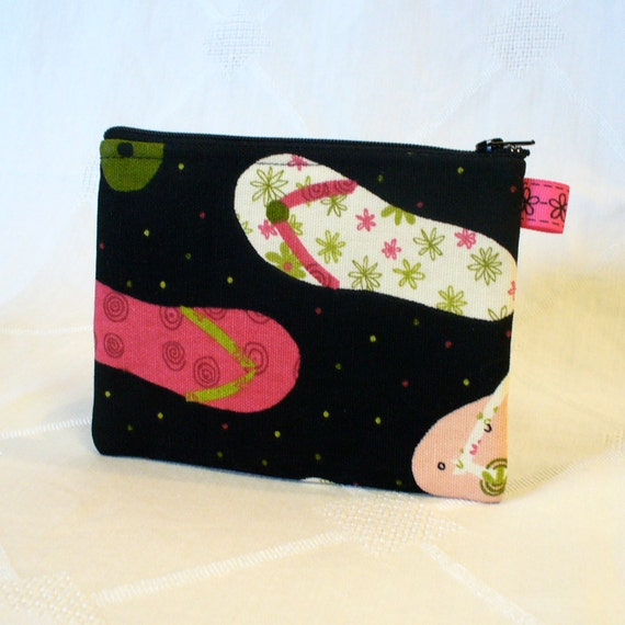 Flip Flops Zipper Pouch Cosmetic Bag Makeup Bag Lime Green Pink Black Handmade Cell Phone MP3