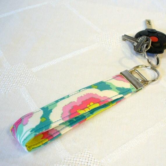 Wristlet Key Fob Amy Butler Fabric Keyring Keychain Buttercups Spearmint Green Pink Soul Blossoms Handmade MTO