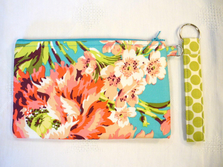 Amy Butler Fabric Wristlet Clutch Purse Bliss Bouquet Teal