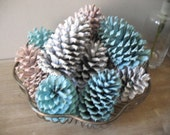 Special order for RACHEL ...... rustic Painted Pine cones .... table decoration .... Pink White Tiffany Blue
