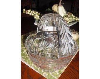 Vintage Cut glass Brides Basket Bowl .... Etched ... wedding center piece