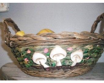 vintage mushroom basket .... gathering .... storage ... display