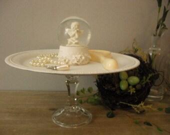 Romantic repurposed Cherub Globe Vanity tray ... Wedding buffet table dessert tray .... SWEET Jewerly holder