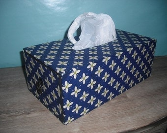 beautiful vintage  covered Tissue or bag dispenser box