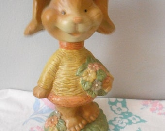 Vintage Rabbit nodder ... Bunny rabbit shelf sitter ... Easter gift