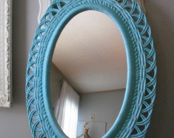 large Oval Aqua Blue Mirror vintage ... shabby chic Romantic Cottage ... wicker style Beach Cottage