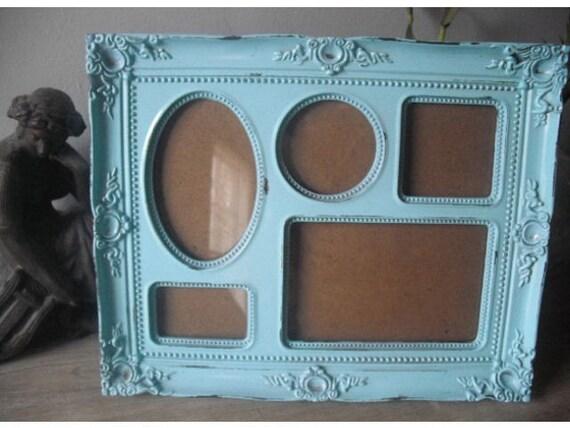 Shabby Cottage Aqua blue Frame ... 5 frames in 1 ... ornate Chic Paris Apartment