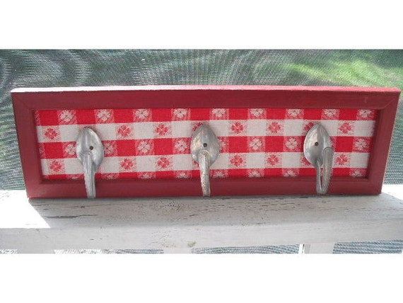Farm House wall hooks ...Red Gingham and spoons