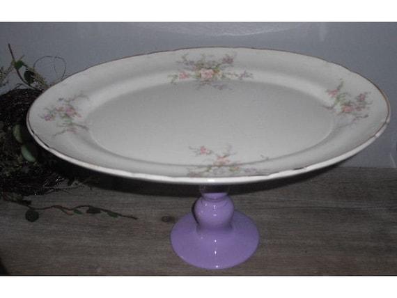 RESERVED for Cristol....repurposed Vintage Floral roses Ironstone Platter