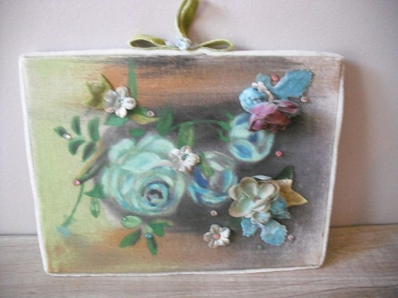 RESERVED for Shellyting....................vintage ROSES Painting  with millinery flowers and jewels .... Shabby Chic Romantic