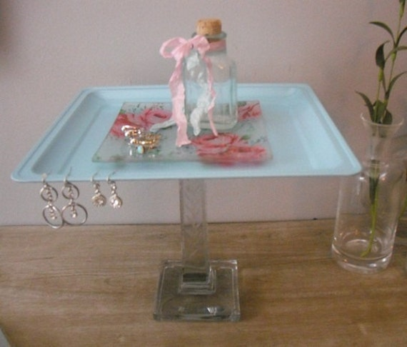 upcycled shabby chic cottage Vanity tray ... dessert server .... wedding tray ... tiffany blue with roses Etched pedestal