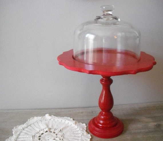 gorgeous Red dessert stand with cloche dome ... cupcake cake pedestal
