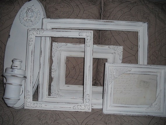RESERVED for bladamit ....... 5 pc Shabby chic French Country inspired wall grouping .... WHITE Frames and chunky Cherub wall sconce
