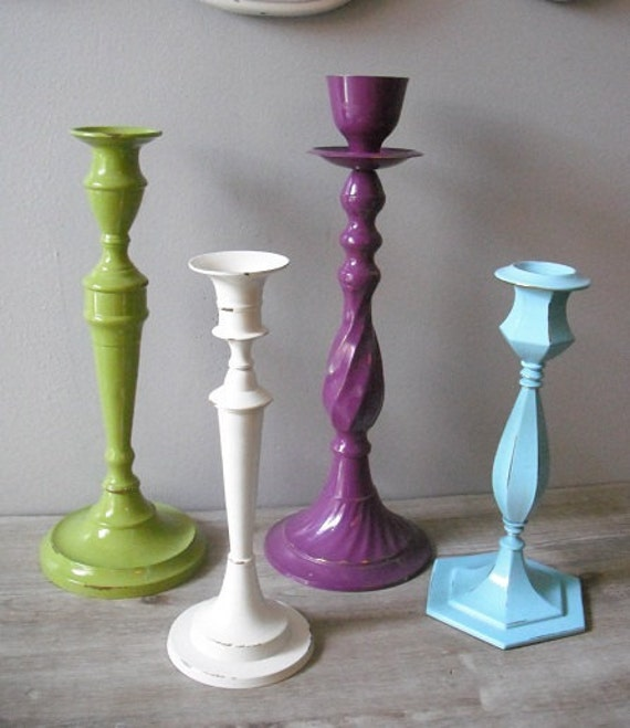 upcycled Refreshing Grouping of candle holders ..... Purple Green Aqua Ivory .... Cottage Chic