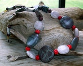Beaded Necklace - Beautiful Greys and Red