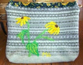 Muted Green Felted Wool Purse with Daisies